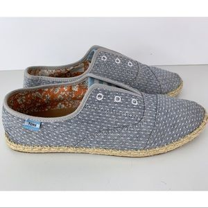 TOMS Blue White Speckled Stripe Laceless Shoes
